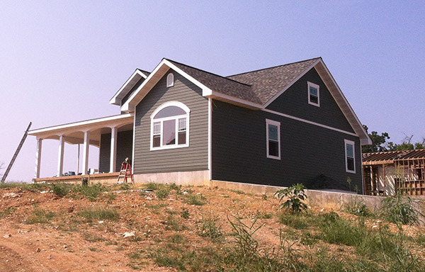 Custom home with fiber cement lap siding