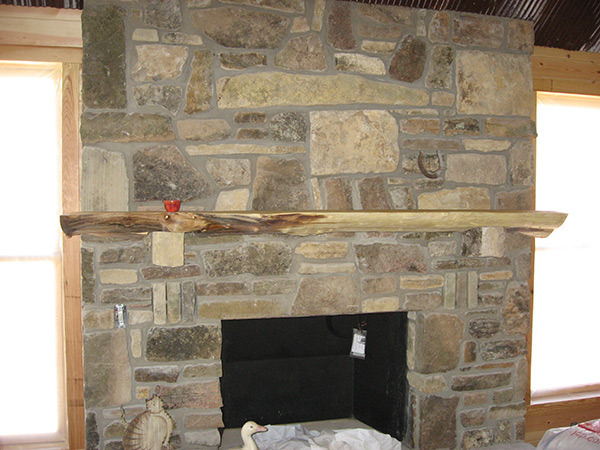 Custom mantel from locust tree