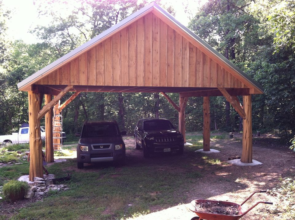 Wooden carport building