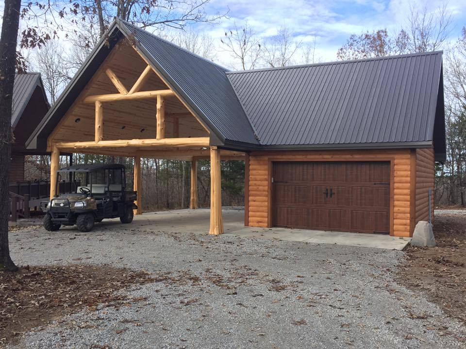 Outdoor carport with built-on garage