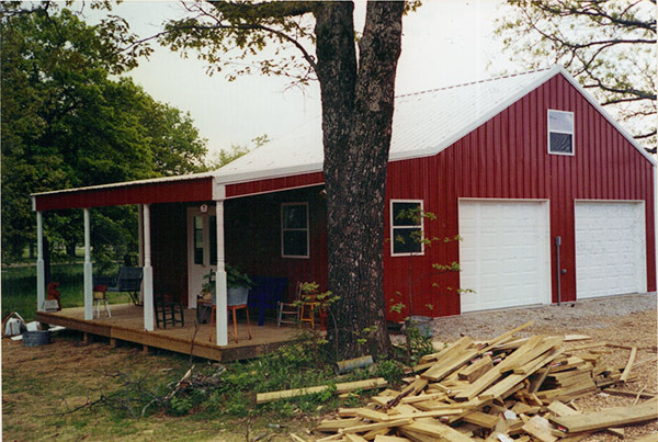 Pole barn with framed garage on slab