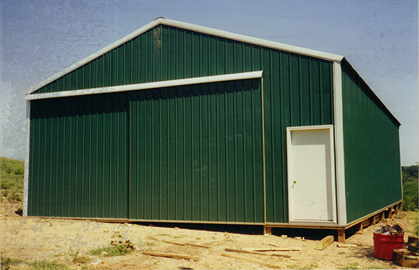 Pole barn with sliding door