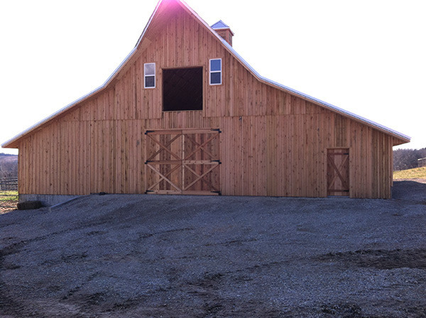 Framed, two-story wooden barn