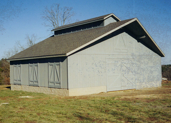Framed pole barn on concrete foundation
