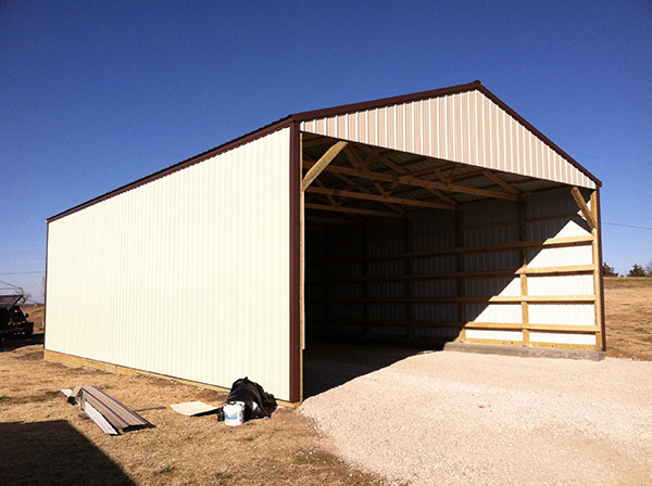 Pole barn with one end open