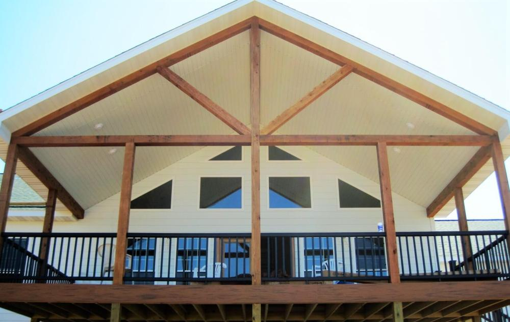 Wooden frames on exterior second level